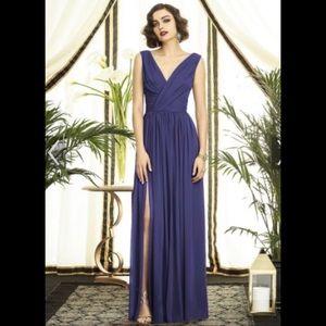 NWT! Black Dessy Full Length Front Leg Slit Dress